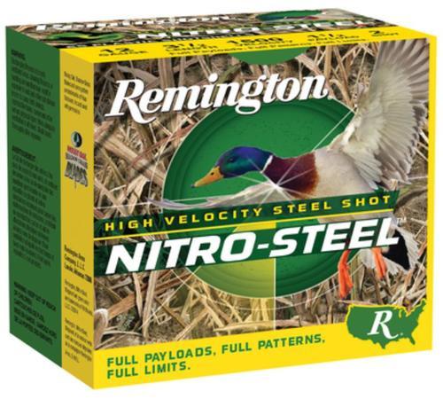 """Remington Nitro Steel Shotshells 12 Ga, 2.75"""", 1.1oz, 4 Shot, 25rd/Box"""