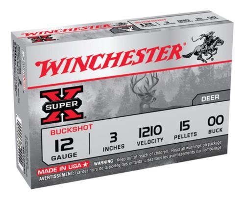 """Winchester Super X Buckshot 12 ga 3"""" 15 Pellets 00 Buck Shot 5rd Box"""