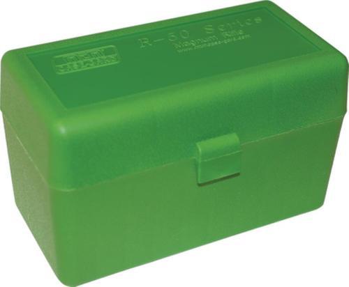 MTM Flip Top Rifle Ammo Box For Large Magnum Calibers Mechanical Hinge Clear Green/Black