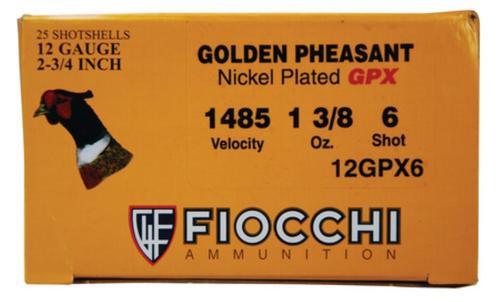 "Fiocchi Golden Pheasant Nickel 12 Ga, 2.75"", 1485 FPS, 1.3oz, 6 Shot, 25rd/Box"