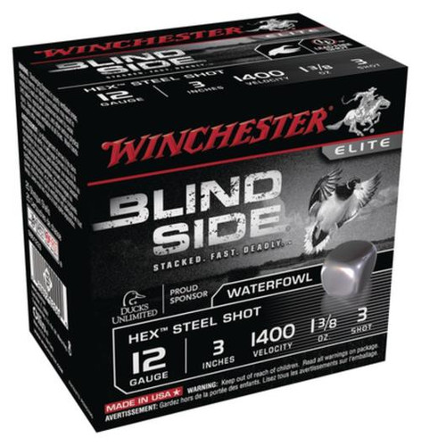 Winchester Blind Side Steel Hex Magnum Waterfowl 12 Gauge 3 Inch 1400 FPS 1.375 Ounce 3 Shot 25rd/Box