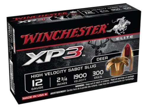 "Winchester XP3 Fully Rifled Tin Core Lead Free Slug 12 Ga, 2.75"", 1900 FPS, 300gr, Sabot Slug, 5rd/Box"