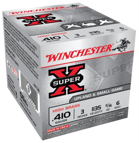 "Winchester Super-X High Brass 410ga 3"" 11/16 oz 6 Shot 25Box/10Case"