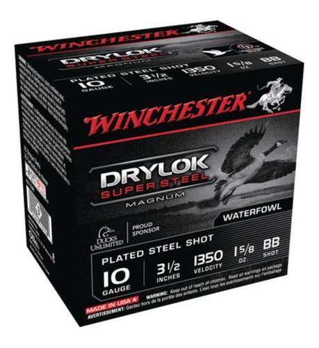 "Winchester Drylok Super Steel Magnum Waterfowl Loads Plated10 Ga, 3.5"", 1350 FPS, 1.625 oz, BB Steel Shot, 25rd/Box"