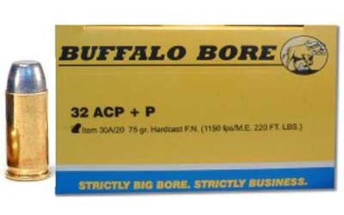 Buffalo Bore .32 ACP +P 75gr, Hard Cast Flat Nose, 20rd/Box