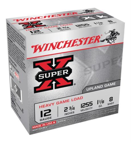 "Winchester Super-X Heavy Game Load 12 Ga, 2.75"", 1255 FPS, 1.125 oz, 8 Shot, 250rd/Case (10 Boxes/Case)"