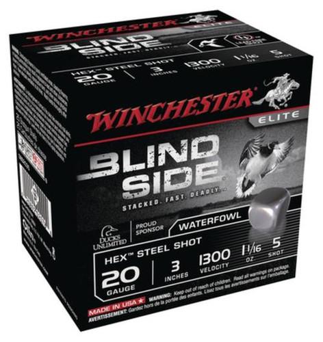 """Winchester Blind Side Steel Hex Magnum 20 Ga, 3"""", 1300 FPS, 1.1oz, 5 Shot, 25rd/Box"""