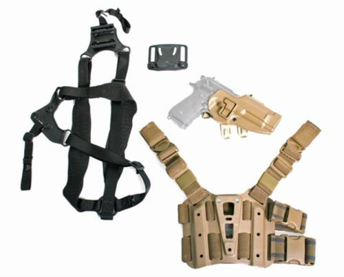 Blackhawk S.T.R.I.K.E. Serpa Combo Kit For Beretta Only Includes Serpa, Belt, Shoulder and Thigh Mounts Size Large to Extra-Extra Large Torso Right Hand Coyote Tan