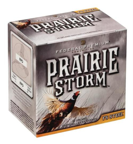 """Federal Premium Prairie Storm FS Steel 12 Ga, 3"""", 1600 FPS, 1.125oz, 4 Shot, 25/Box (May be availble by the case, 10 boxes per case)"""
