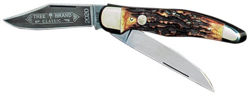 Boker Folding Hunter 1095 Carbon Clip/Skinning Blade Stag