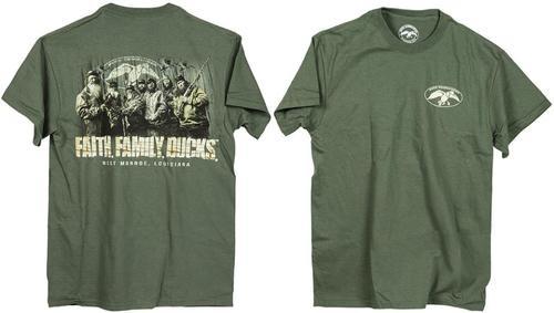 Duck Commander Faith.Family.Ducks. T-Shirt Moss Green, Large Cotton
