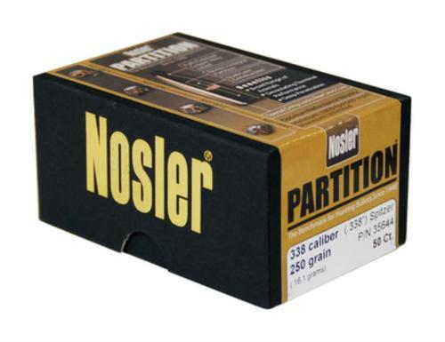 Nosler Partition Spitzer 338 Caliber .338 250gr, 50 Per Box