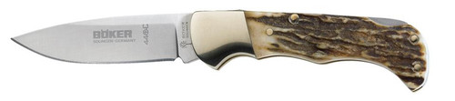 Boker Folding Hunter Stag 440C Stainless Drop Point Blade Wood