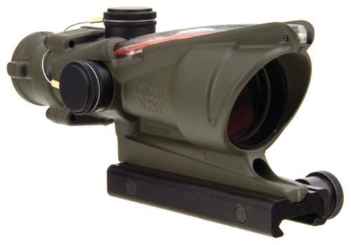 Trijicon ACOG 4x32 Scope With TA51 Mount Dual Illuminated Red Crosshair .223 Ballistic Reticle Cerakote Olive Drab Green