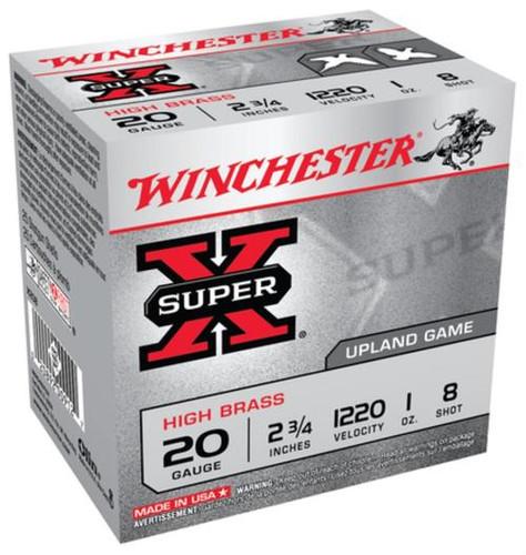 "Winchester Super-X High Brass 20 Ga, 2.75"", 1oz, 8 Shot, 25rd/Box"