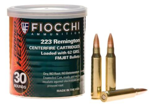 Fiocchi Canned Heat .223 Remington 62 Grain Full Metal Jacket Boattail 50 Rounds Per Can
