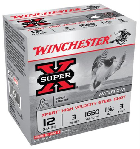 "Winchester Super-X Xpert Steel Waterfowl Load 12 Ga, 3"", 1625 FPS, 1.0625oz, 3 Steel Shot, 25rd/Box"