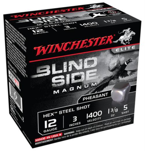 Winchester Blind Side Steel Hex Pheasant 12 gauge, 3 Inch, 1400 FPS, 1.325 Ounce, 5 Shot, 25rd/Box