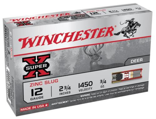 "Winchester Super-X Lead Free Rifled Slug 12 Ga, 2.75"", 1450 FPS, .75oz, 5rd/Box"