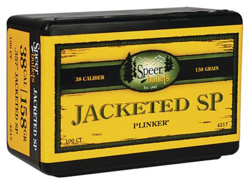 Speer Handgun 38 Caliber .357 158gr, Jacketed Soft Point 100 Box