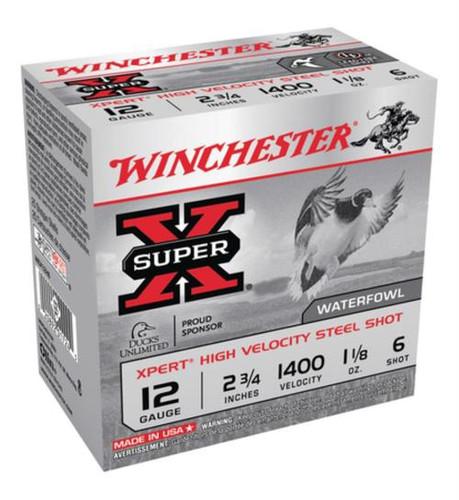 "Winchester Super-X Xpert Steel Waterfowl Load 12 Ga, 2.75"", 1400 FPS, 1.125 oz, 6 Steel Shot, 25rd/Box"