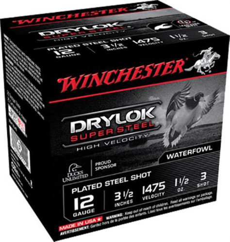 "Winchester Supreme Hi-Velocity Steel Shot 12 Ga, 3.5"", 1-1/2oz, 3 Shot, 25rd/Box"