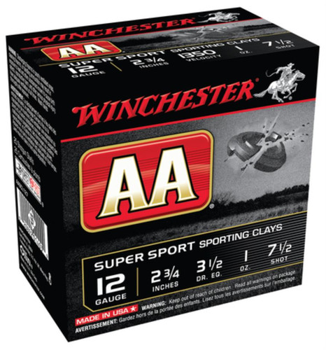 "Winchester AA Super-Sport 12 Ga, 2.75"", 1350 FPS, 1oz, 7.5 Shot, 250rd/Case (10 Boxes of 25rd)"
