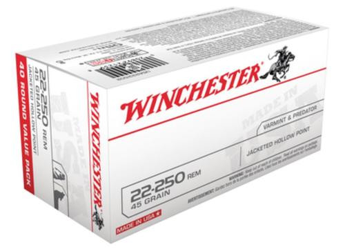 Winchester USA 22-250 Remington JHP 45gr, 40Box