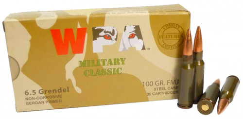 Wolf Military Classic 6.5 Grendel, 100 Gr, FMJ, 20rd/Box