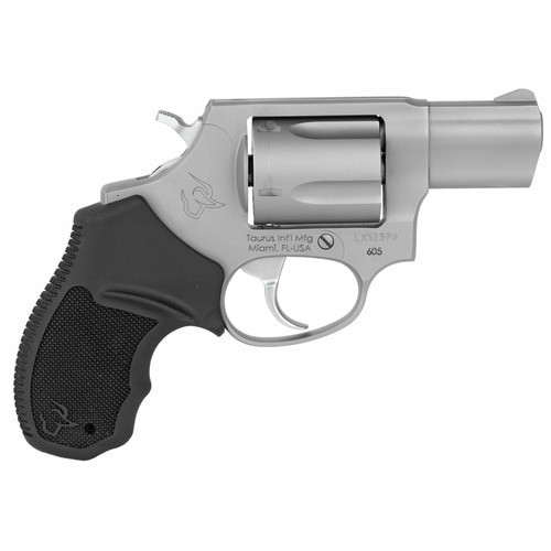 "Taurus 605 Standard 357 Magnum 2"" Barrel Black Rubber Stainless Steel Finish, 5rd"