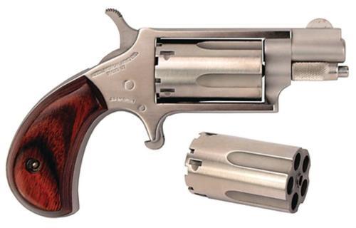 "NAA 22MSC 22 Mag, 22LR Cylinder 1.12"" 5rd Rosewood Grip Matte SS"