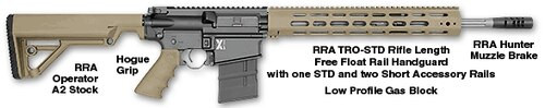 """Rock River Arms LAR-8 X-1 Rifle, .308 Winchester, 18"""" Fluted Barrel, Tan Furniture"""