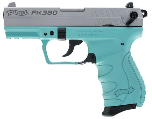 """Walther PK380 .380 ACP 3.6"""" Barrel, 3-Dot, Stainless, Angel Blue, 8rd"""