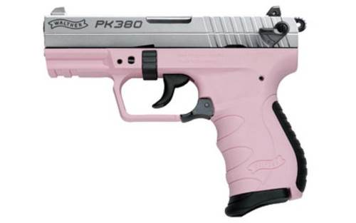 "Walther, PK380 Double Action, Compact, 380ACP, 3.6"" Barrel Nickel Slide Pink Grip, 8Rd Mag"