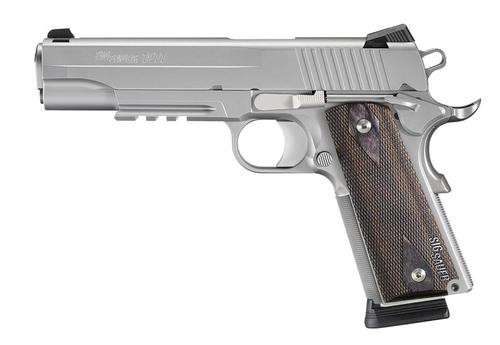 """Sig 1911 45 ACP, 5"""" Barrel, Stainless Stainless Finish SAO Siglite Blackwood Grip (2) 8RD Steel MAG Rail MA Compliant"""