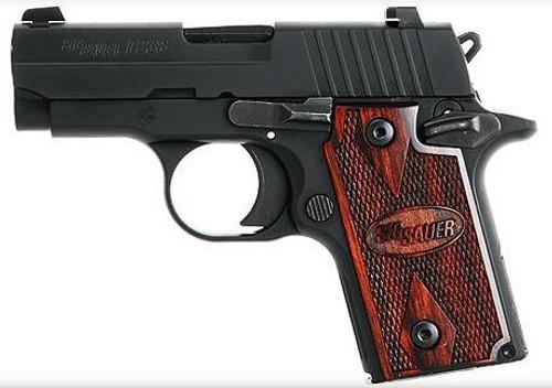 Sig P238 380 ACP 2.7In Rosewood Black SAO Rosewood Grip (1) 6RD Steel MAG
