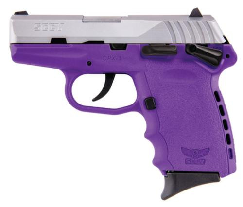 "SCCY CPX-1 9mm 3"" Barrel Natural Satin SS Slide/Purple Frame 10rd Mag"
