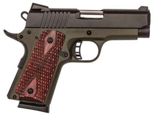 "Citadel M-1911 Compact 9mm 3.5"" Bushingless Barrel Olive Drab Green Cerakote, Wood Grips 7rd Mag"