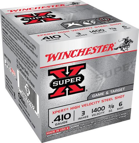 "Winchester Expert Upland Steel 410 Ga, 3"", 3/8oz, 6 Shot, 25rd/Box"