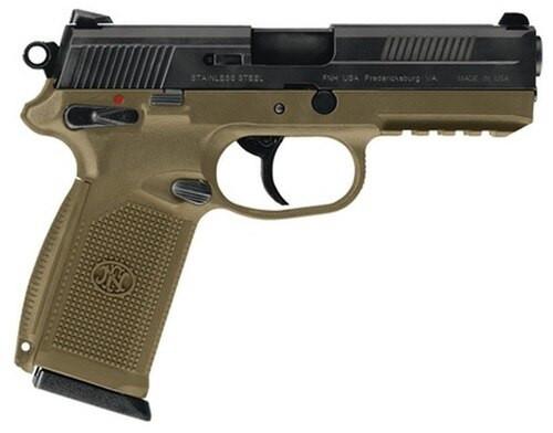 "FN FNX-45 45 ACP 4.5"" Flat Dark Earth, Black Slide, Combat Sights, 15 Round"