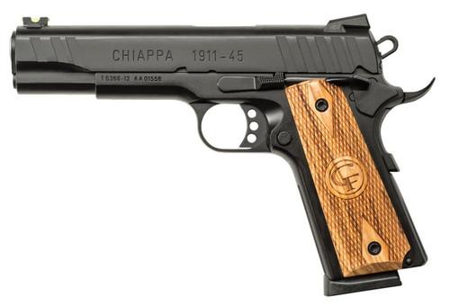 "Chiappa 1911-45 Custom 45 ACP 5"" Barrel, Checkered Wood Grips Novak Sights Black, 8rd"