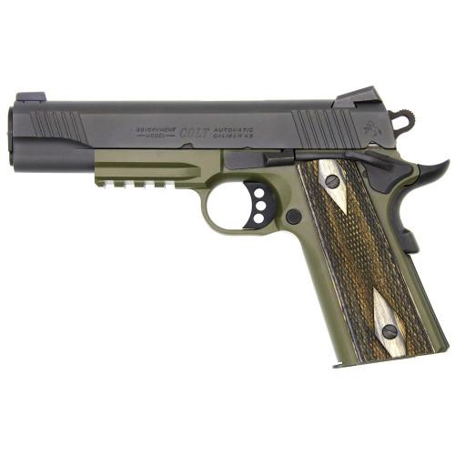 Colt 1911 'Rail Gun', 45 ACP, Black Slide, OD Frame, Full Size