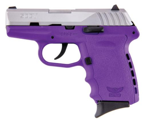 "SCCY CPX-2, O Manual Safety 9mm 3.1"" Barrel SS Slide Finish Purple Frame 10rd Mag"