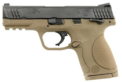 """Smith & Wesson M&P Compact 45 ACP 4"""" Barrel, Ambi Safety Flat Dark Earth Poly Grip/Frame Black Slide, 8rd"""