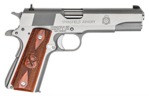 """Springfield 1911 MilSpec 45 ACP Stainless Steel 5"""" Barrel Cocobolo Grip 7rd Mag"""