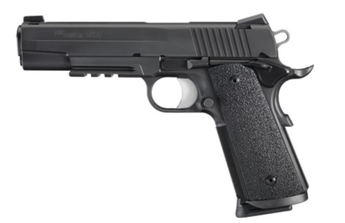 SIG 1911 45 ACP 5IN TAC OPS BLK SAO Siglite Ergo XT Grip (4) 8RD Steel MAG Traditional Slide