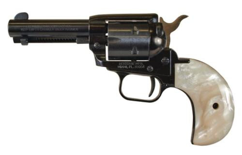 """Heritage Rough Rider Single Action Army 22LR/22WMR, 3.5"""" Barrel White Mother of Pearl Grips 6Rd, Bird's Head Grip"""