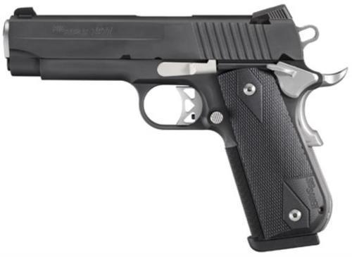Sig 1911 45 ACP 4.2In Nightmare Black SAO Siglite Black G10 Grip (2) 8RD Steel MAG Fastback