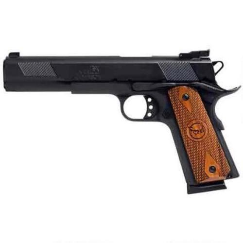 "Iver Johnson 1911A1, 45 ACP, 6"", 8rd, Blued/Walnut Grips"