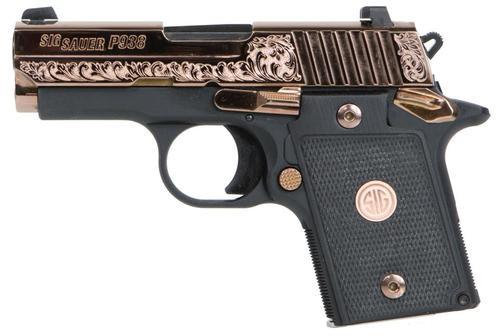 """Sig P938, 9mm, 3"""", Rose Gold, Black G10 Grips, 6 rds"""